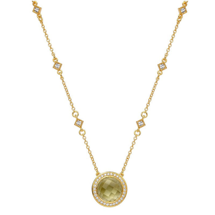 Lafonn Signature Lassaire Simulated Diamond Genuine Lemon Quartz Necklace GN009LMG18
