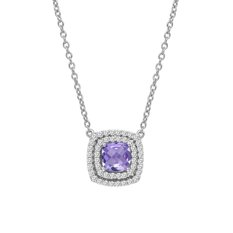 Lafonn Signature Lassaire Simulated Diamond Genuine Amethyst Necklace GN015AMP