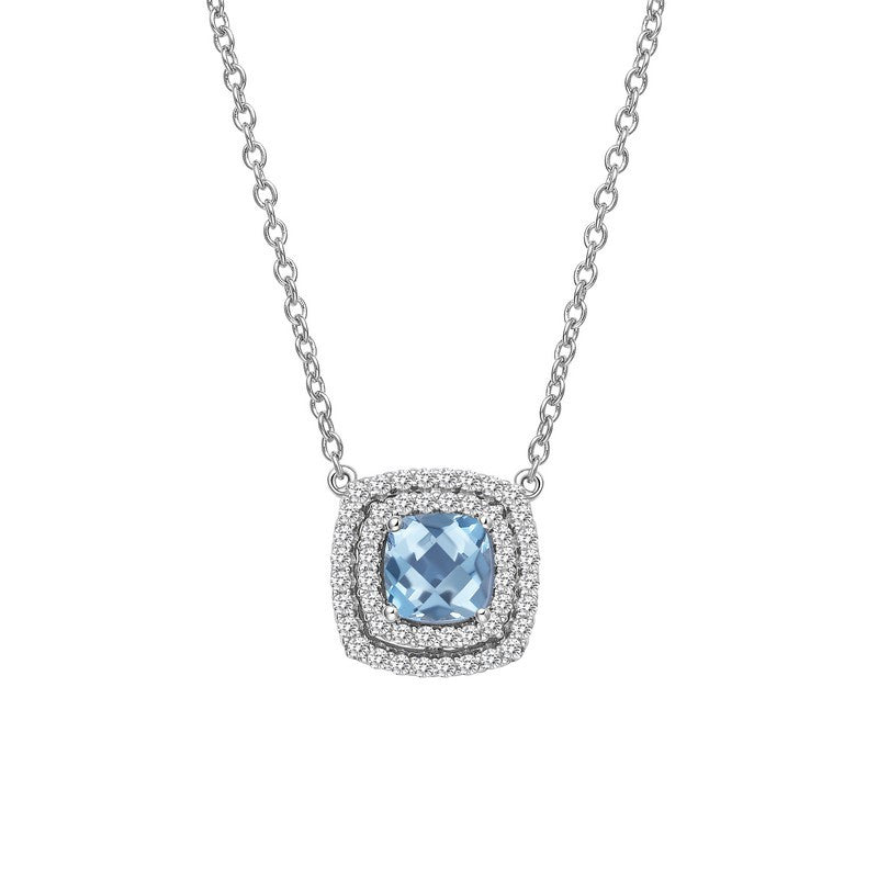 Lafonn Signature Lassaire Simulated Diamond Genuine Blue Topaz Necklace GN015BTP18