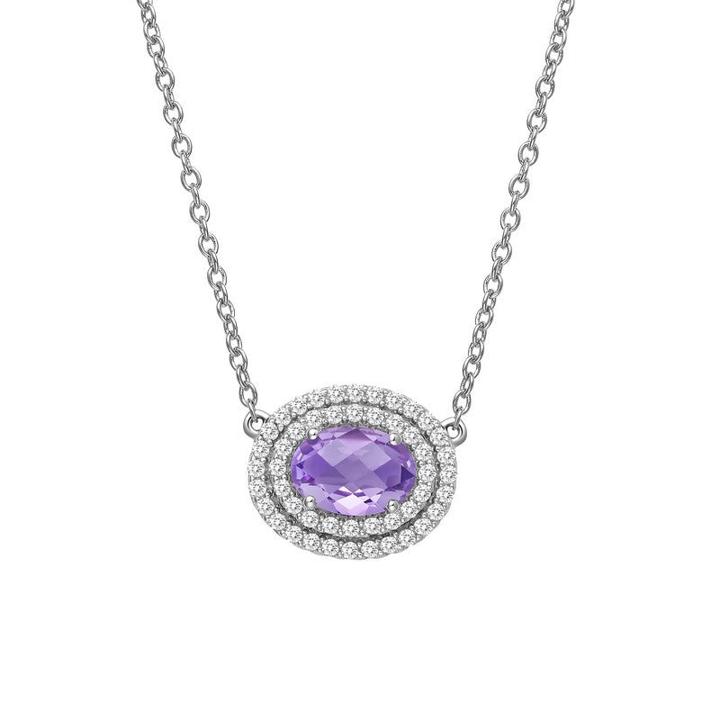 Lafonn Signature Lassaire Simulated Diamond Genuine Amethyst Necklace GN016AMP