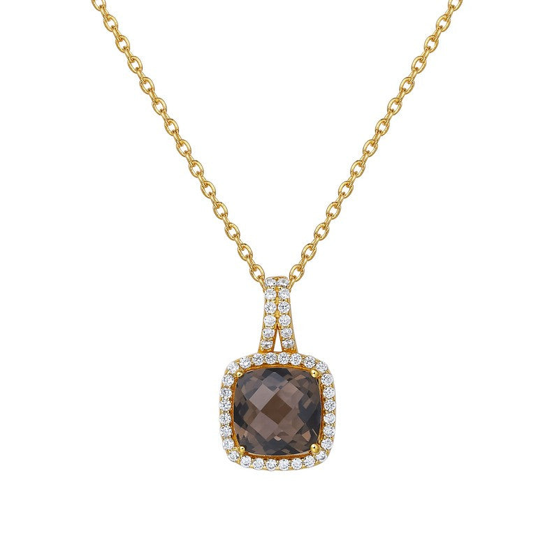 Lafonn Signature Lassaire Simulated Diamond Genuine Smokey Quartz Necklace GP003SMG18