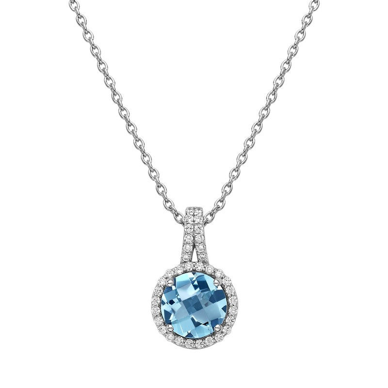 Lafonn Signature Lassaire Simulated Diamond Genuine Blue Topaz Necklace GP004BTP18