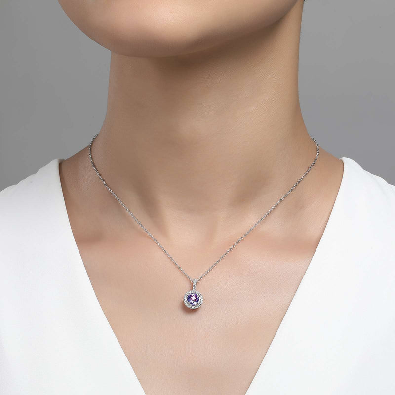 Lafonn Signature Lassaire Simulated Diamond Genuine Amethyst Necklace GP006AMP18