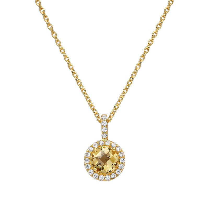 Lafonn Signature Lassaire Simulated Diamond Genuine Citrine Necklace GP006CTG18