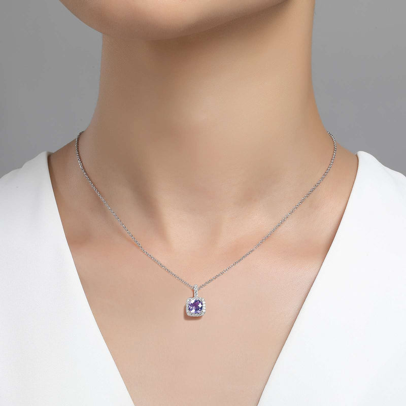Lafonn Signature Lassaire Simulated Diamond Genuine Amethyst Necklace GP007AMP18