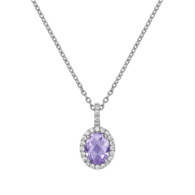 Lafonn Signature Lassaire Simulated Diamond Genuine Amethyst Necklace GP008AMP18