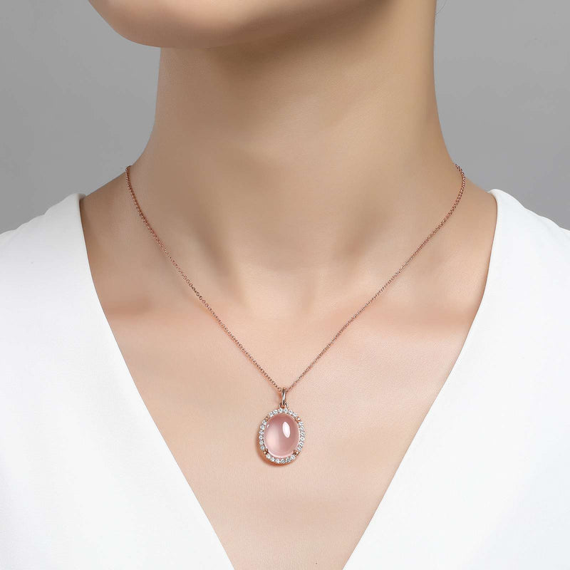 Lafonn Signature Lassaire Simulated Diamond Genuine Cabochon Rose Quartz Necklace GP012RQR18