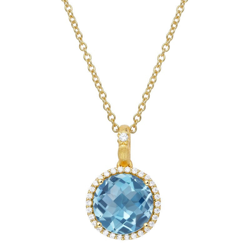 Lafonn Signature Lassaire Simulated Diamond Genuine Blue Topaz Necklace GP015BTG18