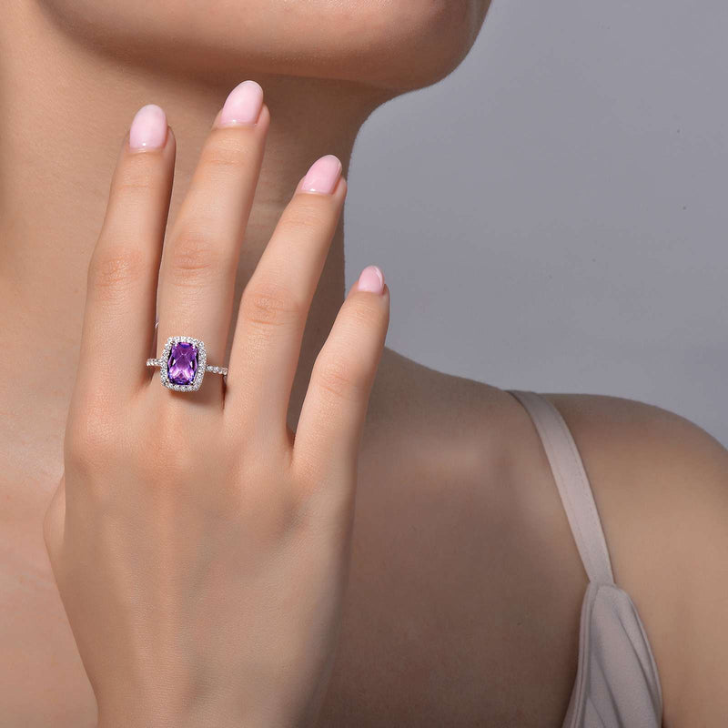 Lafonn Signature Lassaire Simulated Diamond Genuine Amethyst Ring GR002AMP05