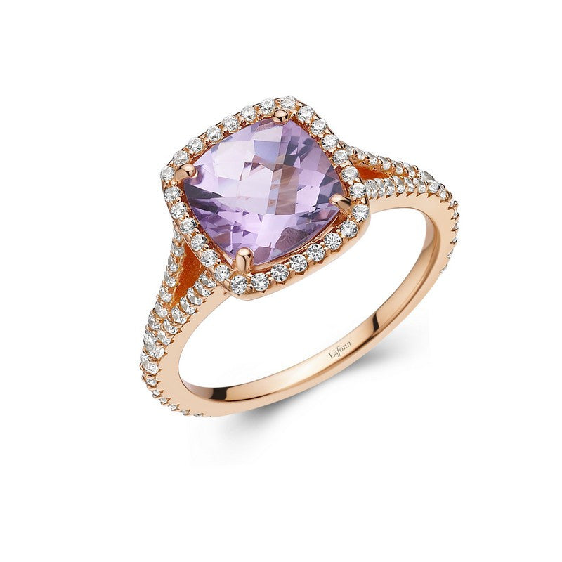 Lafonn Signature Lassaire Simulated Diamond Genuine Amethyst Ring GR003AMR05