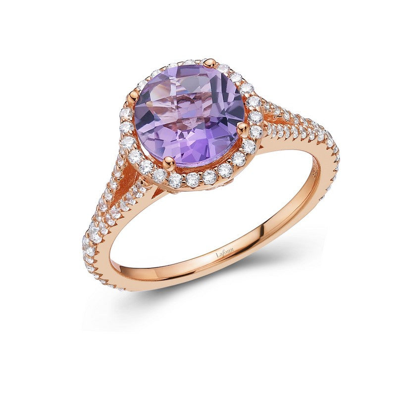 Lafonn Signature Lassaire Simulated Diamond Genuine Amethyst Ring GR004AMR