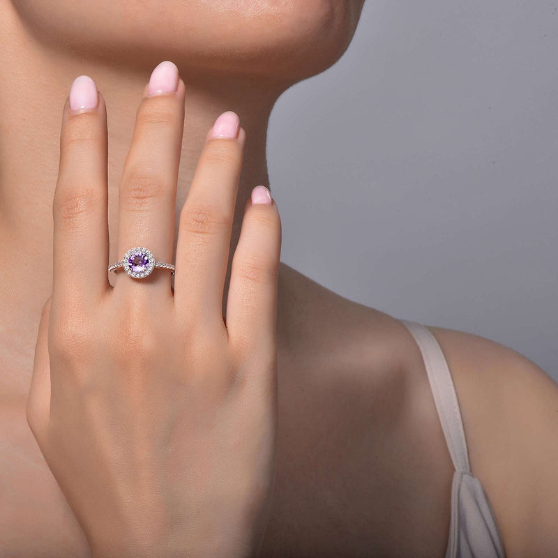 Lafonn Signature Lassaire Simulated Diamond Genuine Amethyst Ring GR006AMP05