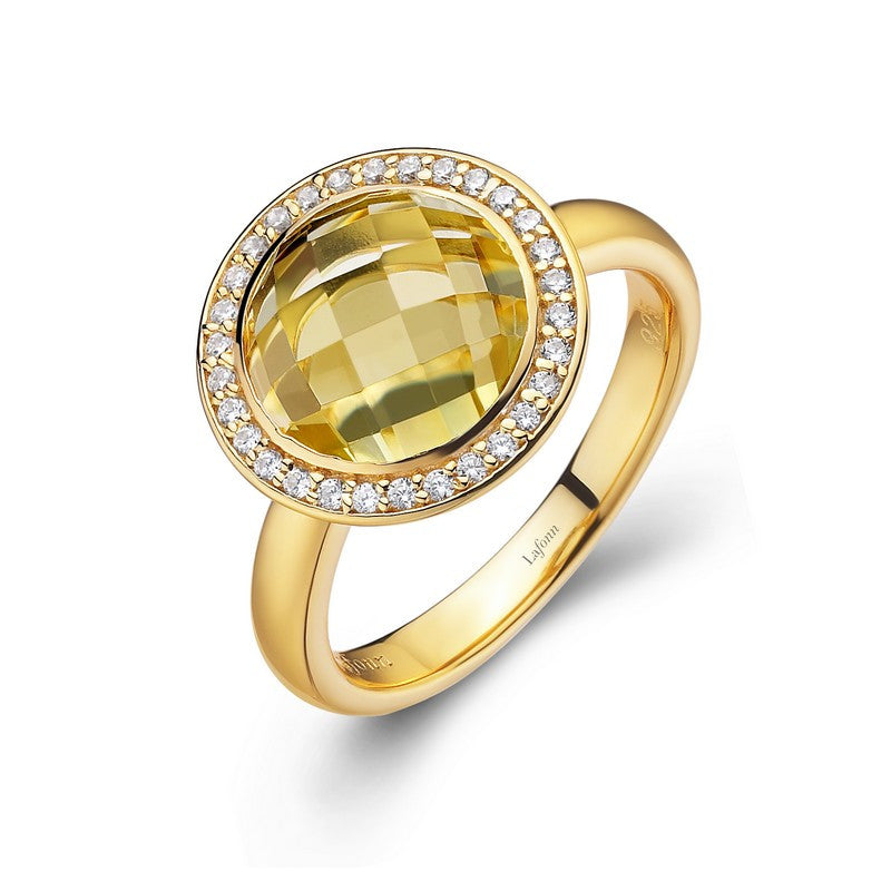 Lafonn Signature Lassaire Simulated Diamond Genuine Lemon Quartz Ring GR009LMG05