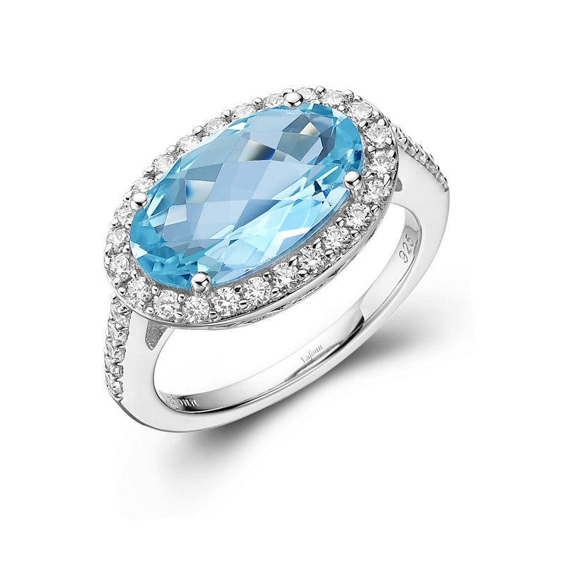 Lafonn Signature Lassaire Simulated Diamond and Genuine Blue Topaz Ring GR015BTP