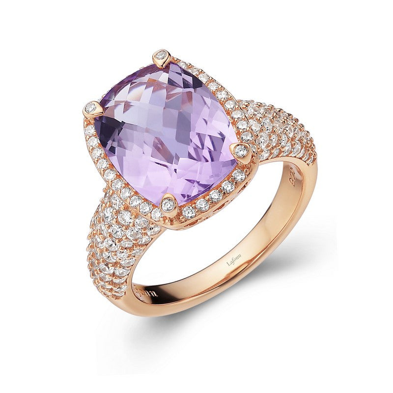 Lafonn Signature Lassaire Simulated Diamond and Genuine Amethyst Ring GR018AMR05