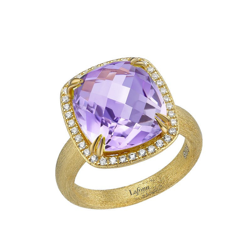 Lafonn Signature Lassaire Simulated Diamond and Genuine Amethyst Ring GR021AMG05