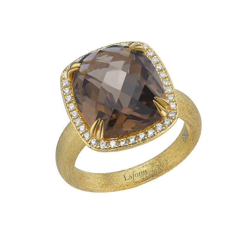 Lafonn Signature Lassaire Simulated Diamond and Genuine Smokey Quartz Ring GR021SMG05
