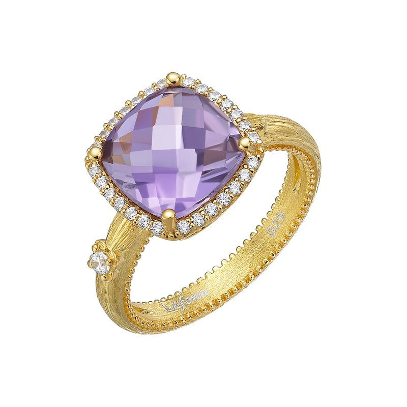 Lafonn Signature Lassaire Simulated Diamond and Genuine Amethyst Ring GR022AMG05