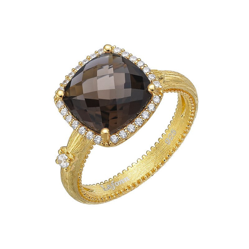 Lafonn Signature Lassaire Simulated Diamond and Genuine Smokey Quartz Ring GR022SMG05