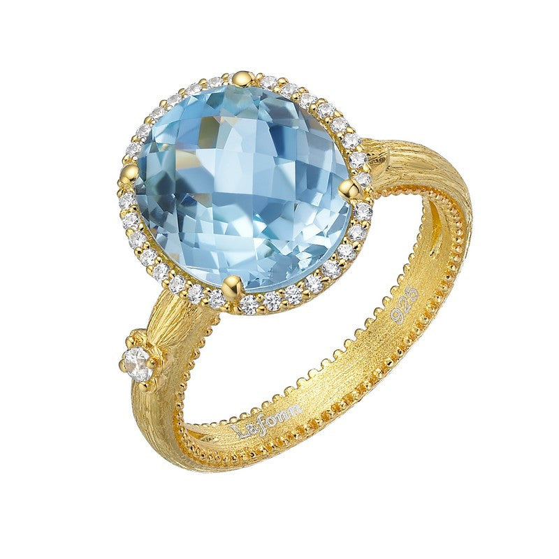Lafonn Signature Lassaire Simulated Diamond and Genuine Blue Topaz Ring GR023BTG05
