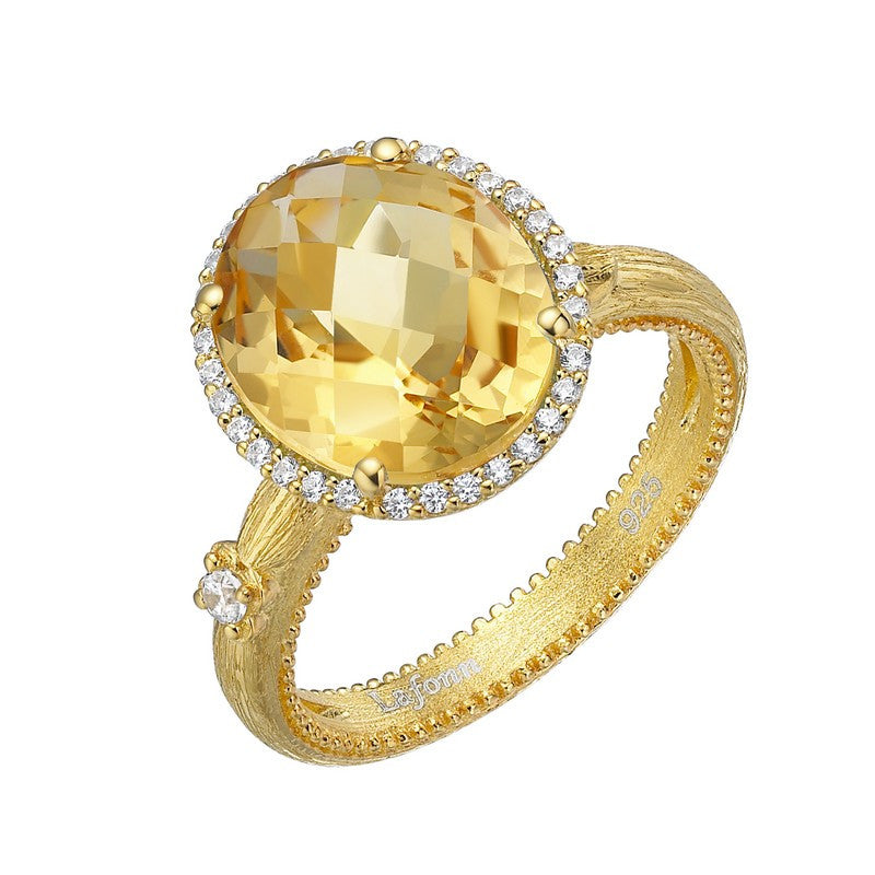 Lafonn Signature Lassaire Simulated Diamond and Genuine Citrine Ring GR023CTG05