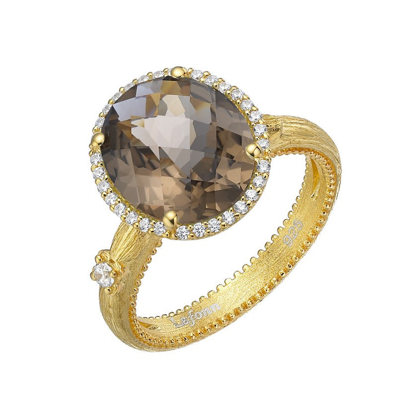 Lafonn Signature Lassaire Simulated Diamond and Genuine Smoky Quartz Ring GR023SMG05