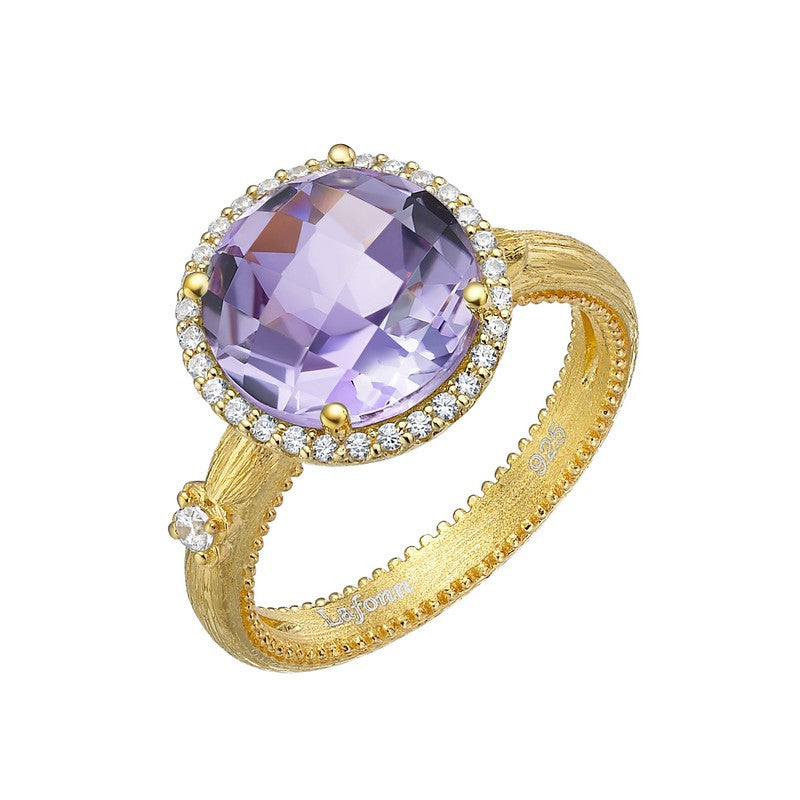 Lafonn Signature Lassaire Simulated Diamond and Genuine Amethyst Ring GR024AMG05