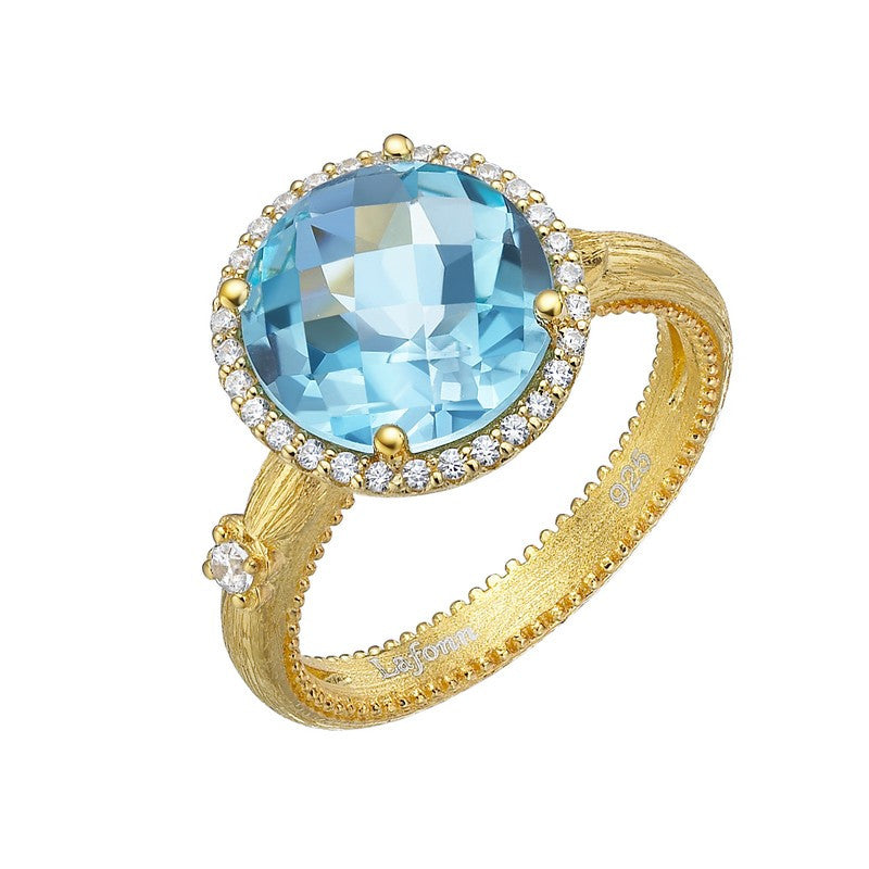Lafonn Signature Lassaire Simulated Diamond and Genuine Blue Topaz Ring GR024BTG05