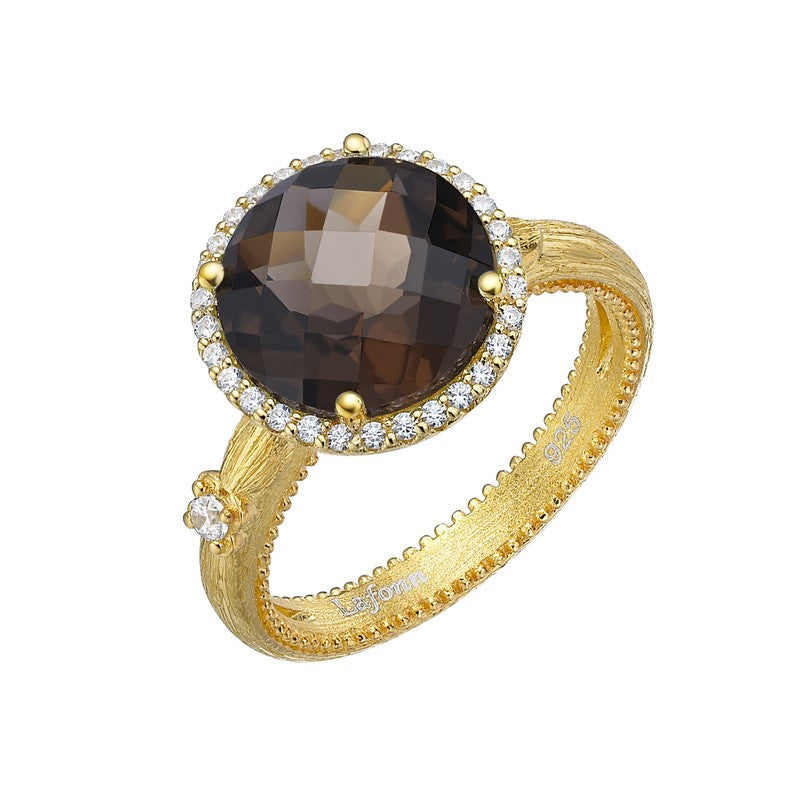 Lafonn Signature Lassaire Simulated Diamond and Genuine Smoky Quartz Ring GR024SMG05