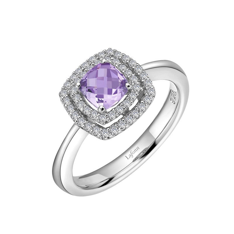 Lafonn Signature Lassaire Simulated Diamond Genuine Amethyst Ring GR027AMP05