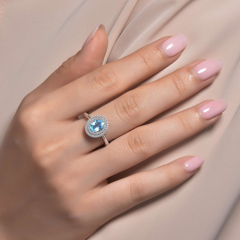 Lafonn Signature Lassaire Simulated Diamond Genuine Blue Topaz Ring GR028BTP05