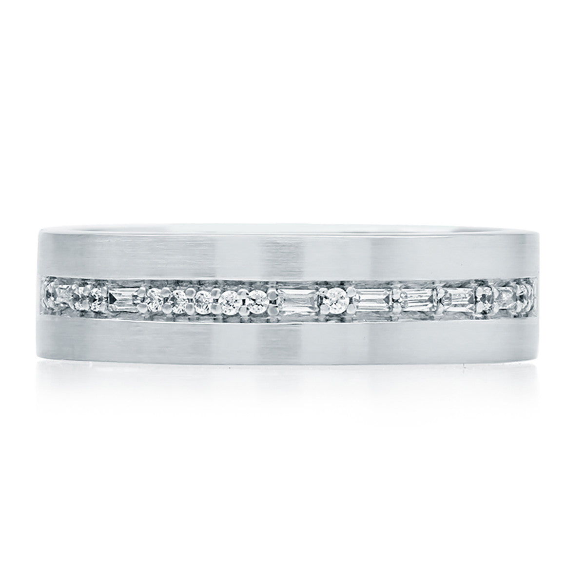 "A. Jaffe Morse Code Off Center ""I Love You"" Diamond Wedding Band GR0998Q/18"