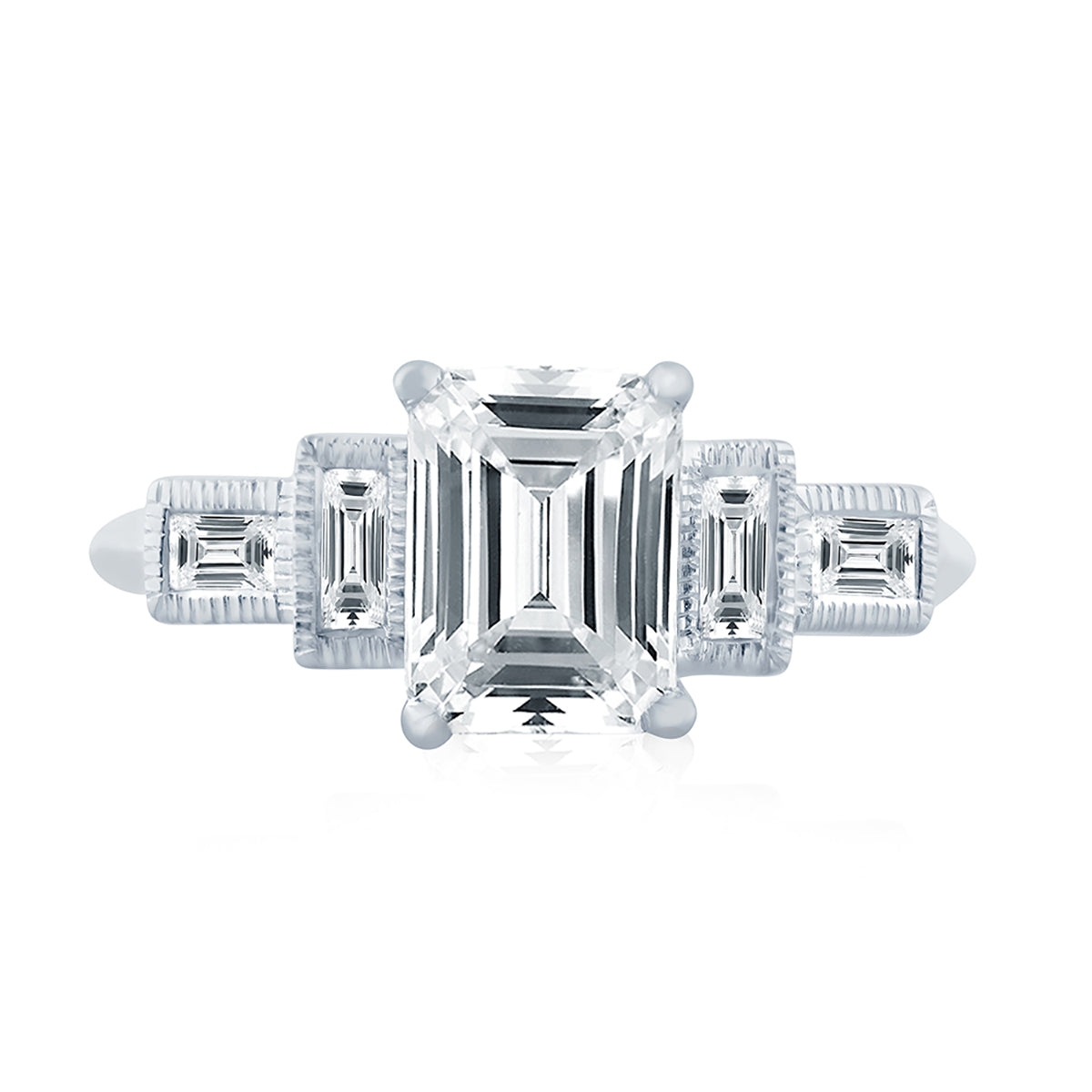 A.Jaffe Emerald Cut Modern Vintage Engagement Ring with Baguette Accent ME2110Q/171