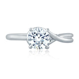 A.Jaffe Asymetrical Knot Round Center Stone Engagement Ring ME2131Q/100