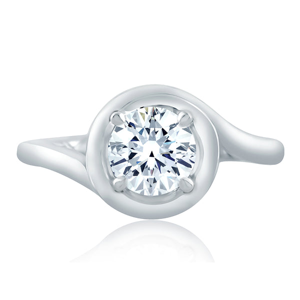A.Jaffe Four Prong Round Wave-Inspired High Polish Engagement Ring ME2133Q/100