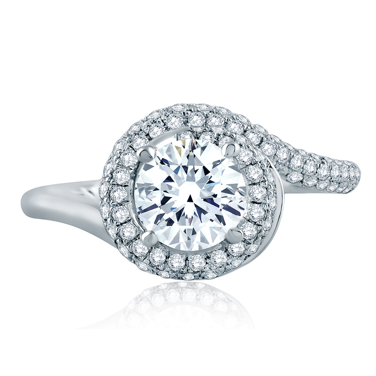 A.Jaffe Four Prong Round Wave-Inspired Half Pave Engagement Ring ME2139Q/142
