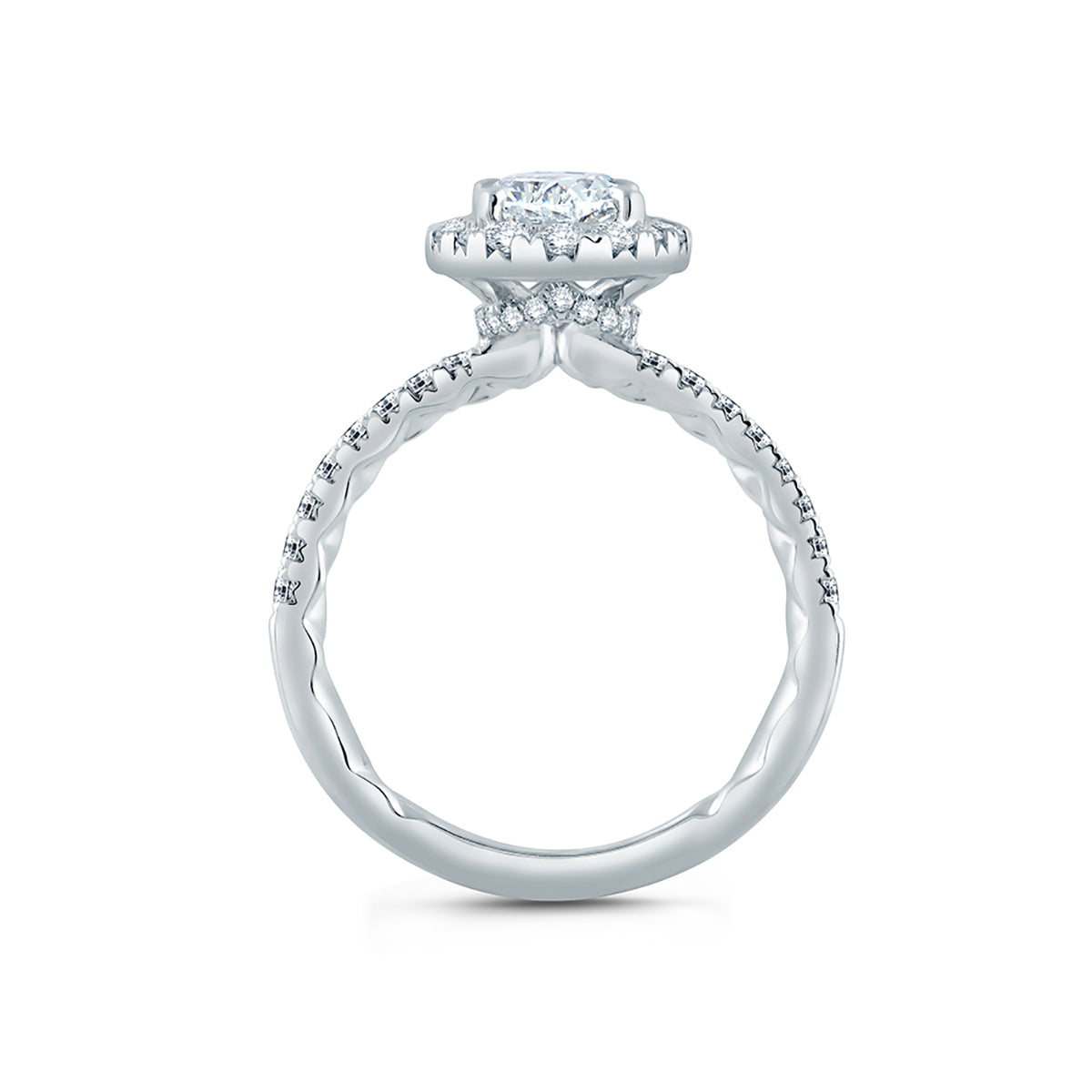 A.Jaffe Oval Halo Engagement Ring with Belted Gallery Detail ME2168Q/205