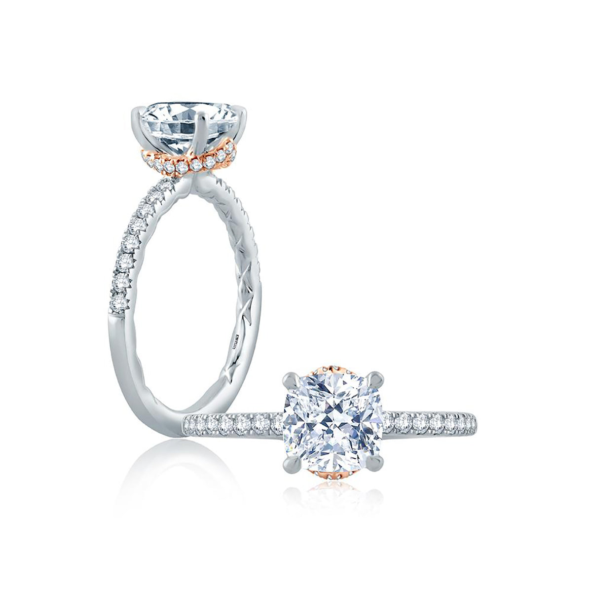 A.Jaffe Delicate Cushion Solitaire with Belted Gallery Detail Engagement Ring ME2171Q/179