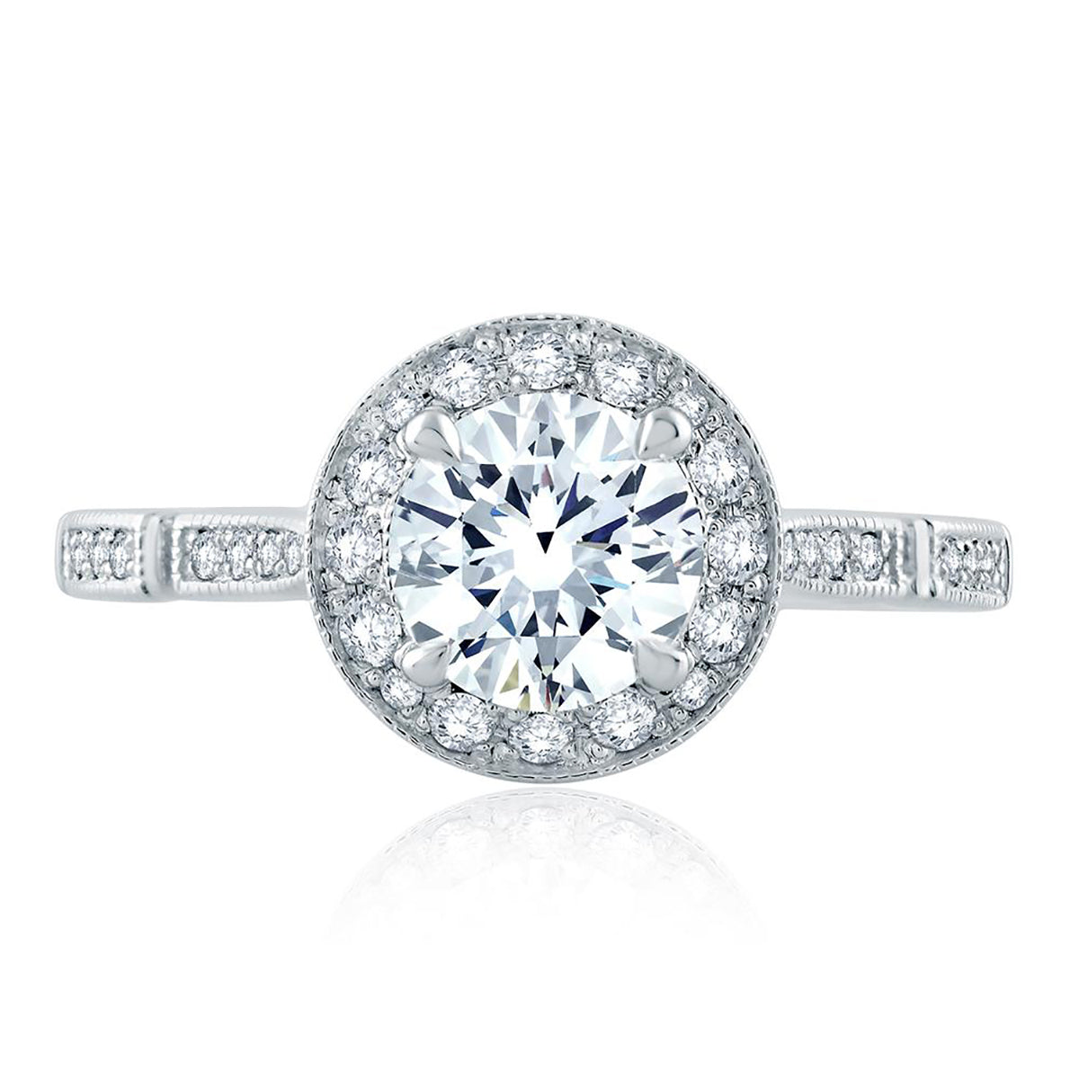 A.Jaffe Modern Vintage Ornate Gallery and Shank Detail Round Halo Engagement Ring ME2189Q/128