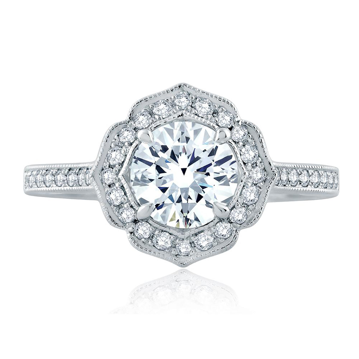 A.Jaffe Floral Inspired Milgrian Detail Halo Round Engagement Ring ME2191Q/122