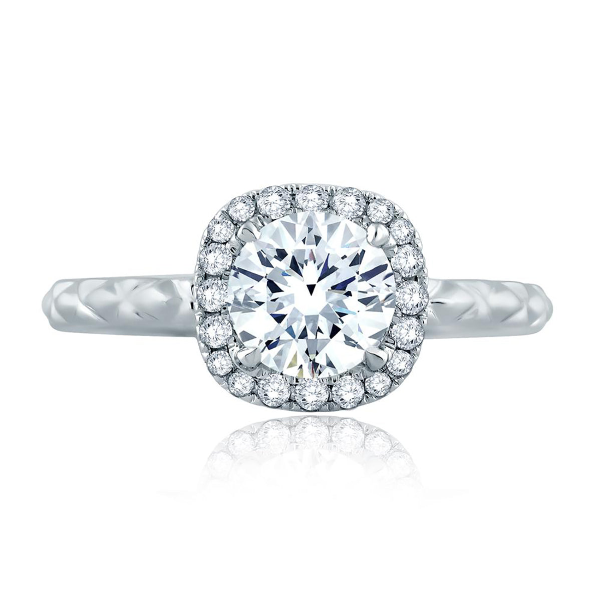 A.Jaffe Delicate Quilted Exterior Shank Round with Cushion Halo Engagement Ring ME2192Q/116