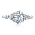 A.Jaffe Floral Inspired Milgrain Accent Oval Center Solitaire Engagement Ring ME2199Q/161