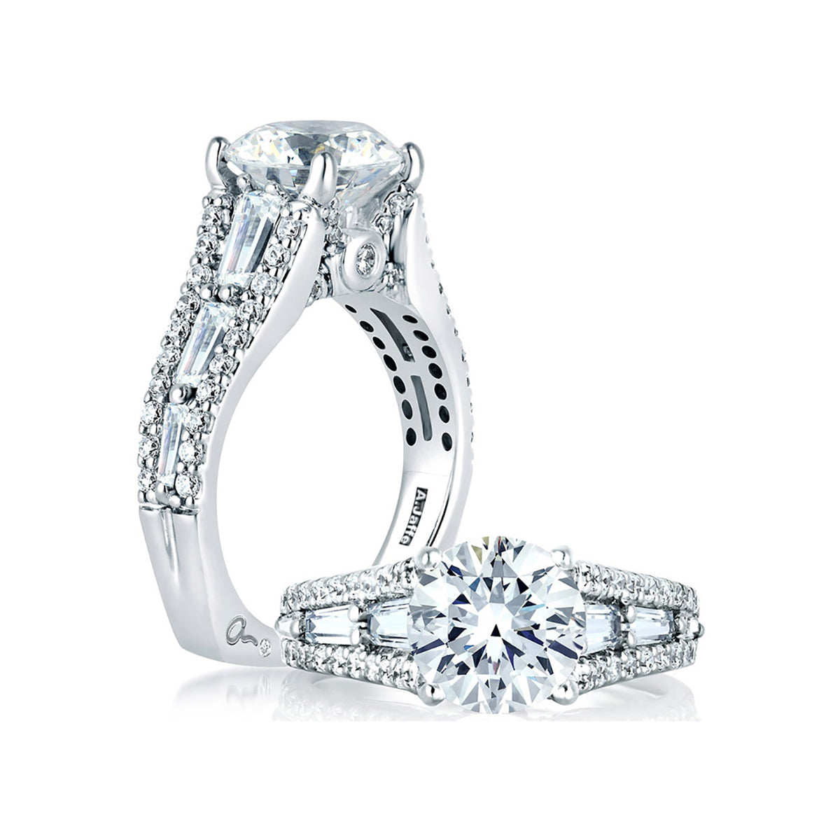 A.Jaffe Round Engagement Ring with Baguettes at Sides MES154/115