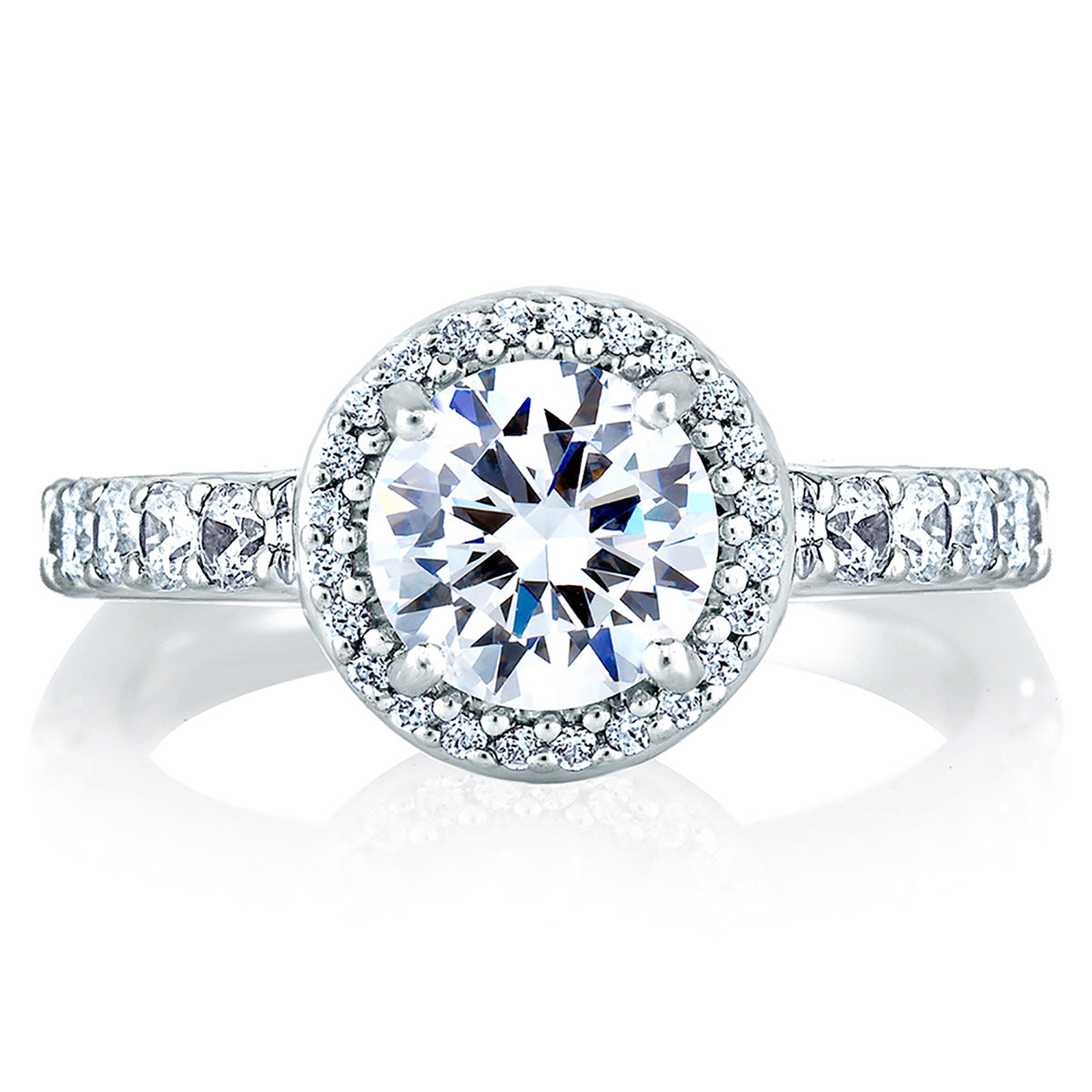 A.Jaffe Halo Set Shared Prong Engagement Ring MES168/62