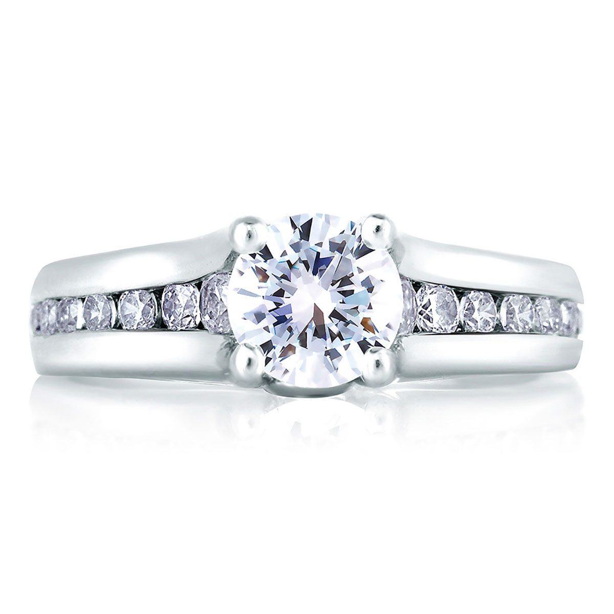 A.Jaffe Cathedral Channel Set with Diamond Bezel Profile Engagement Ring MES228/184