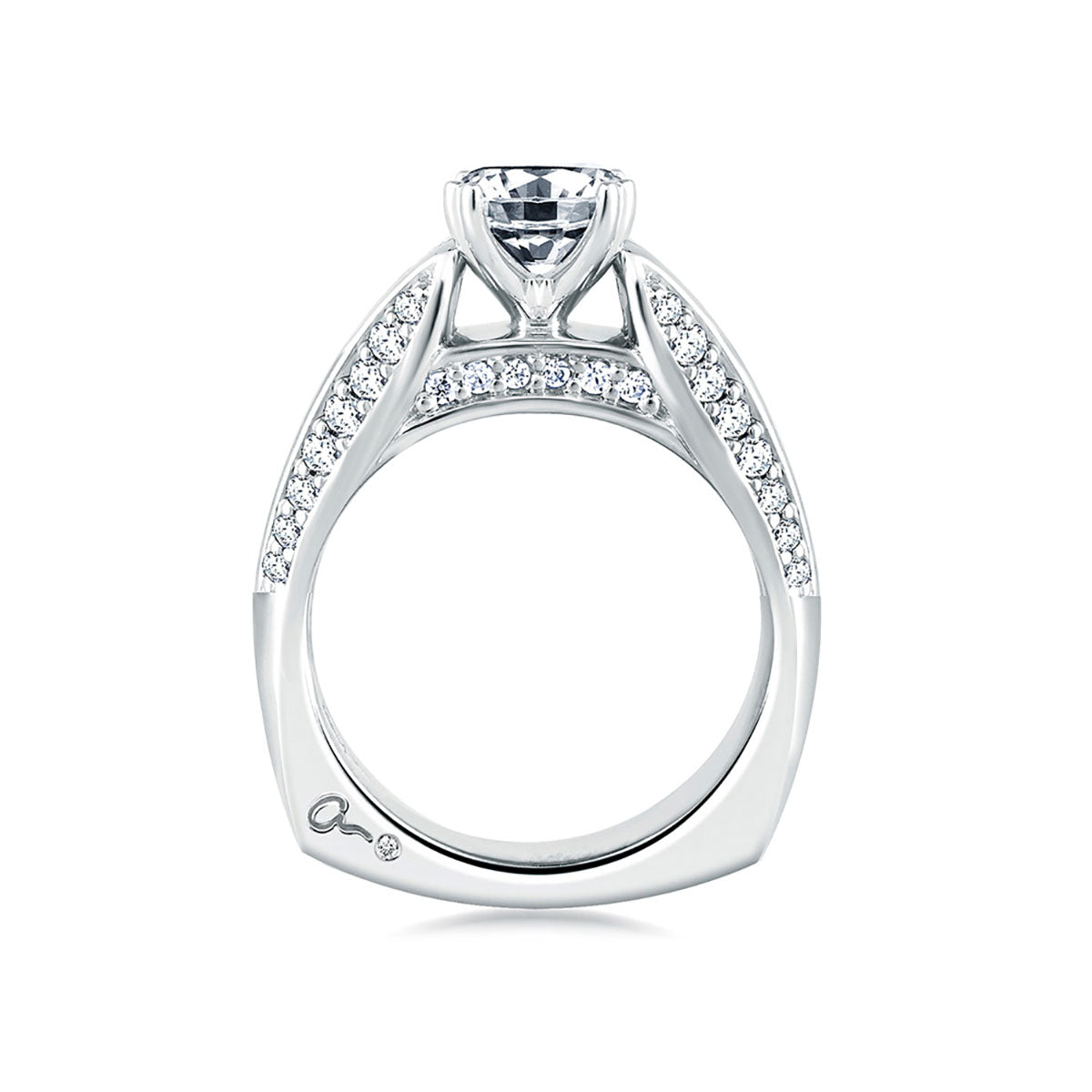 A.Jaffe Classic Wrapped Diamond Three Row Cathedral Engagement Ring MES235/74