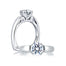 A.Jaffe Designer Split Prong Solitaire with Scroll Set Side Diamonds Engagement Ring MES237/14