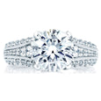 A.Jaffe Three Row Designer Studded Prong Engagement Ring MES267/405