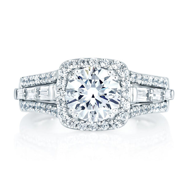 A.Jaffe Square Halo Engagement Ring MES279/249