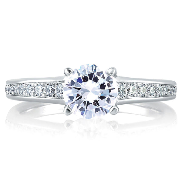 A.Jaffe Solitaire with Pave and Bezel Set Profile Diamond Engagement Ring MES336/123